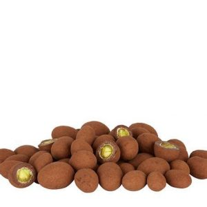 Cocoa dusted dark chocolate covered pistachios