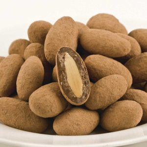 Cocoa dusted milk chocolate almond nuts